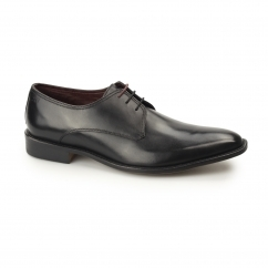 ERWIN Mens Leather Plain Toe Derby Shoes Black
