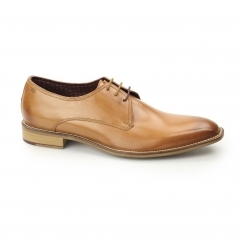 ERWIN Mens Leather Plain Toe Derby Shoes Tan