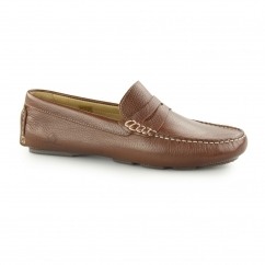 ESCAPE Mens Leather Driving Loafers Brown