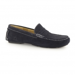 ESCAPE Mens Suede Leather Driving Loafers Navy