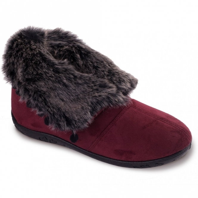 Padders ESKIMO Ladies Faux Fur EE Wide Fit Boot Slippers Burgundy