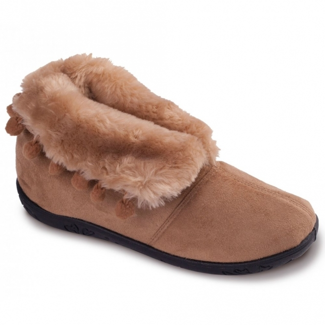 Padders ESKIMO Ladies Faux Fur EE Wide Fit Boot Slippers Camel