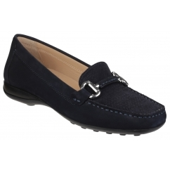 EURO Ladies Leather Comfort Moccasin Shoes Dark Navy