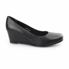 MARGO Ladies Leather Wide Fit Wedge Heels Black