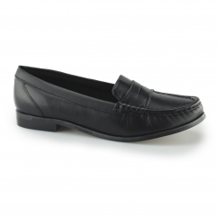 MICHAELA Ladies Leather Wide Fit Loafer Shoes Black
