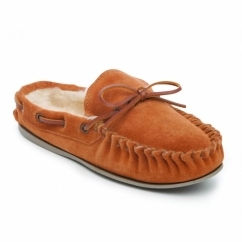 WASHOE Ladies Leather Faux Fur Lined Moccasin Slippers Camel