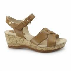 EVA FARRIS Ladies Wedge Sandals Tan