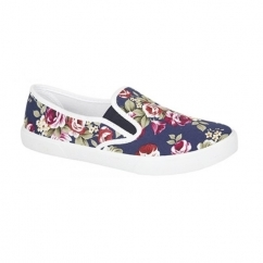 EVELYN Ladies Canvas Slip On Plimsoll Floral Navy