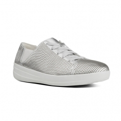 F-SPORTY™ Ladies Leather Perforated Trainers Silver