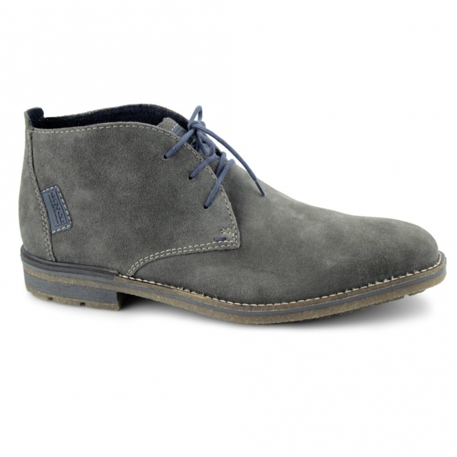 Rieker F1301 Mens Warm Suede Lace-Up Desert Boots Grey