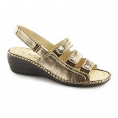 F3082 Ladies Slingback Wedge Sandals Bronze