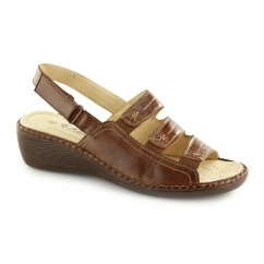 F3082 Ladies Slingback Wedge Sandals Dark Tan