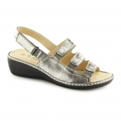 F3082 Ladies Slingback Wedge Sandals Pewter