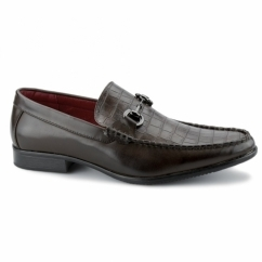 FABIANO Mens Faux Leather Reptile Loafers Brown