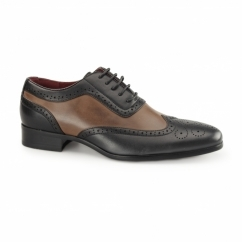 FABRIO Mens Faux Leather Brogue Shoes Black/Brown