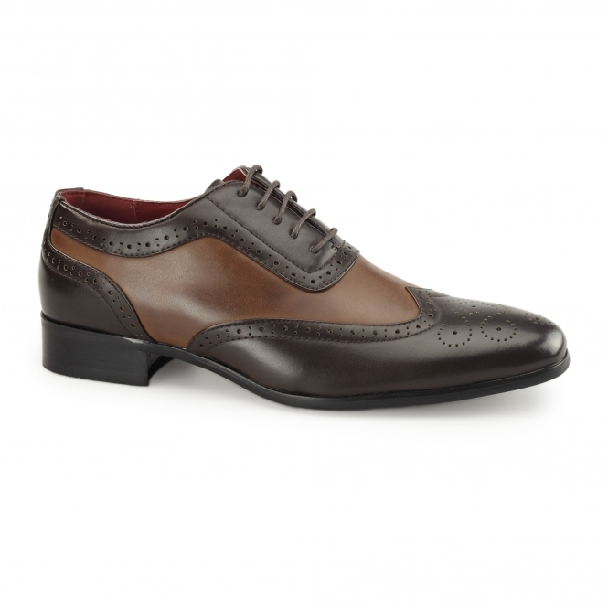 Rossellini FABRIO Mens Faux Leather Brogue Shoes Brown