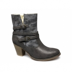 MAISIE Ladies Oily Faux Leather Buckle Zip Boots Black