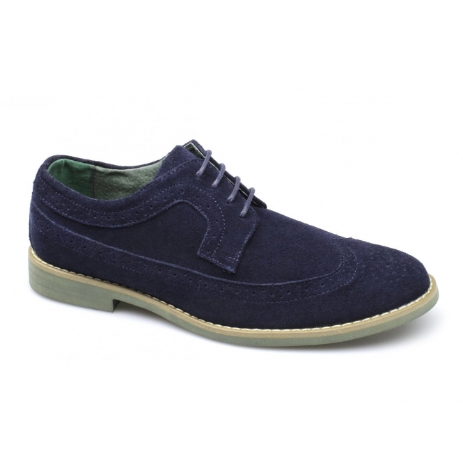 Front FADDEN 2 Mens Suede Brogue Desert Shoes Navy