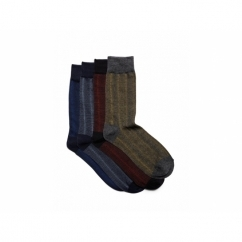 FADED Mens Cotton Socks 4 Pack Black/Dark Grey