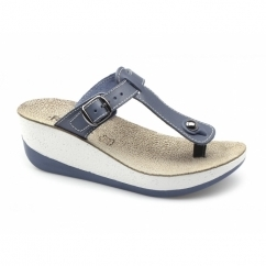 PAXNOS Ladies Toe Post Slip On Wedge Sandals Blue