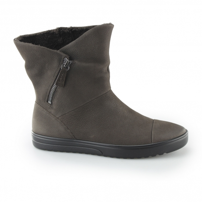 0e56b5388e FARA Ladies Leather Zip Up Mid-Cut Boots Coffee