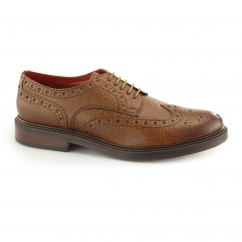 FARADAY Mens Leather Brogue Shoes Tan