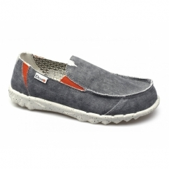 FARTY FUNK Mens Canvas Wide Shoes Grey/Orange