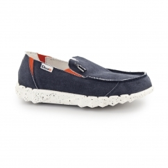 FARTY FUNK Mens Canvas Wide Shoes Navy