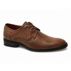FELIX Mens Faux Leather Lace-Up Perforated Shoes Tan