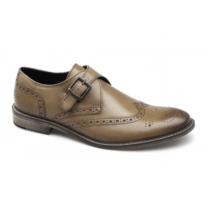 Ikon FELIX Mens Leather Buckle Brogue Shoes Tan