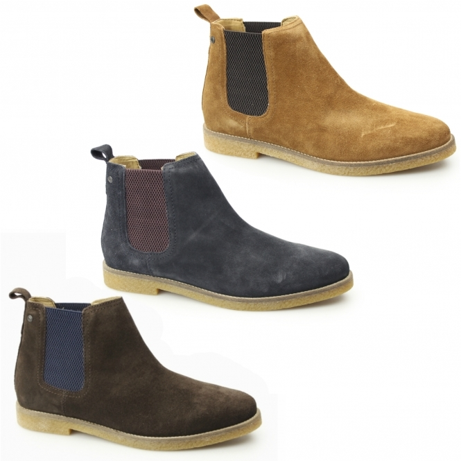 89df96bfbe5e Base London FERDINAND Mens Suede Chelsea Boots Navy