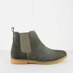 Base London FERDINAND Mens Suede Chelsea Boots Olive