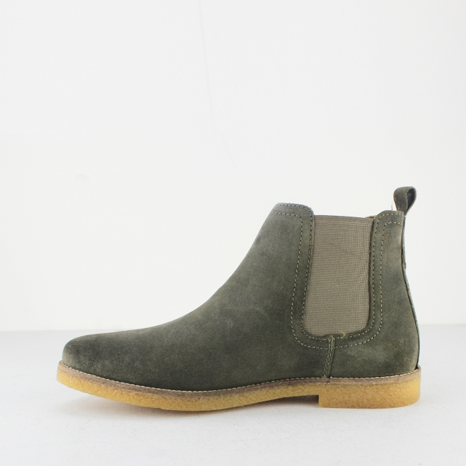 9282abc21db10 Base London FERDINAND Mens Suede Chelsea Boots Olive