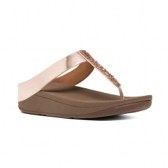 FINO™ Ladies Crystal Toe Post Sandals Rose Gold