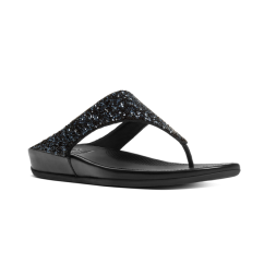 BANDA CRYSTAL™ Ladies Toe Post Embellished Sandals Black