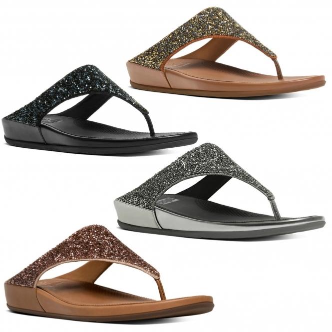 FitFlop™ BANDA CRYSTAL™ Ladies Toe Post Embellished Sandals Black