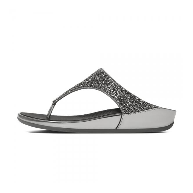 519d75de6dd9d0 FitFlop BANDA CRYSTAL™ Ladies Toe Post Embellished Sandals Pewter ...