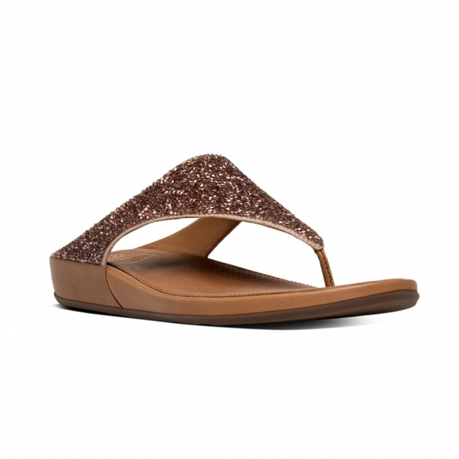 5a8488254 FitFlop™ BANDA CRYSTAL™ Ladies Toe Post Embellished Sandals Rose  Gold