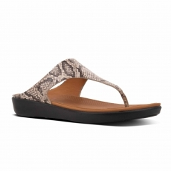 FitFlop™ BANDA II™ Ladies Leather Toe Post Sandals Taupe Snake