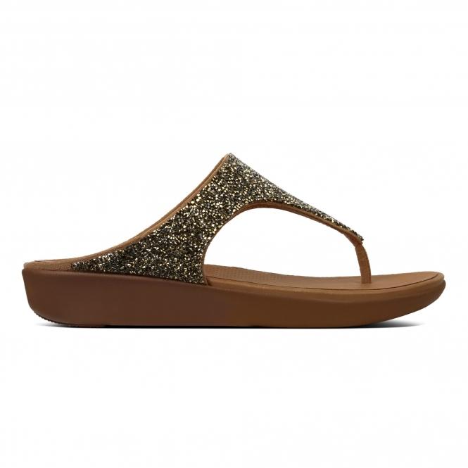 c1ccb4e363a647 FitFlop BANDA II QUARTZ M61-010 Toe Post Sandals Gold