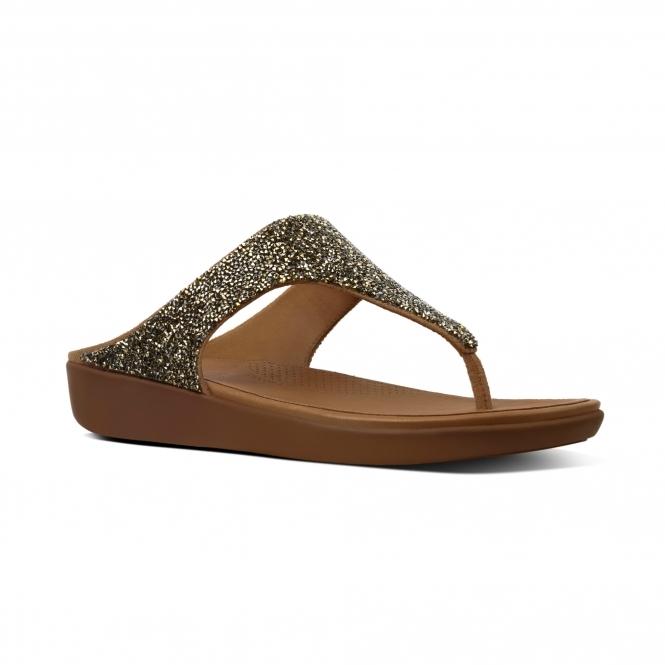06efdc26fc0 FitFlop BANDA II QUARTZ M61-010 Toe Post Sandals Gold