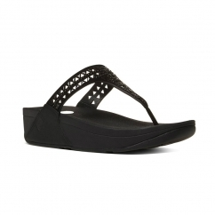 CARMEL™ Ladies Suede Toe Post Sandals All Black