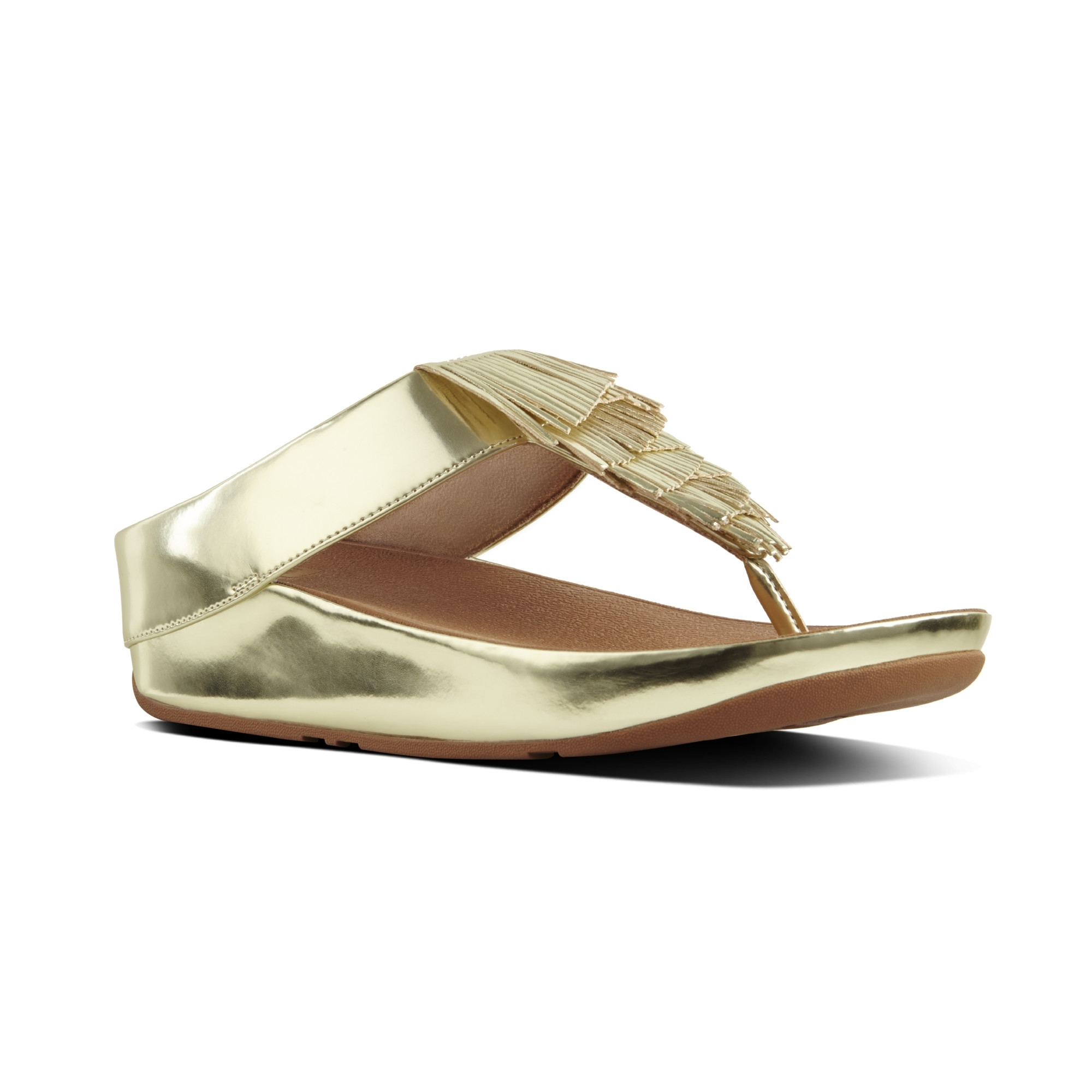 1ee194a214a94d FitFlop™ CHA CHA™ Ladies Faux Leather Fringe Sandals in Gold