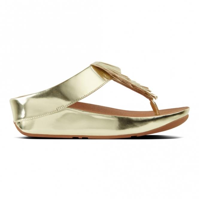 innovative design 5f968 6a328 CHA CHA™ Ladies Faux Leather Toe Post Fringe Sandals Gold