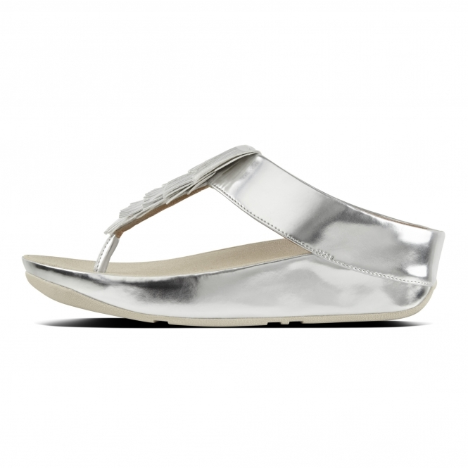4b89b13f4f8e3f FitFlop™ CHA CHA™ Ladies Faux Leather Toe Post Fringe Sandals Silver