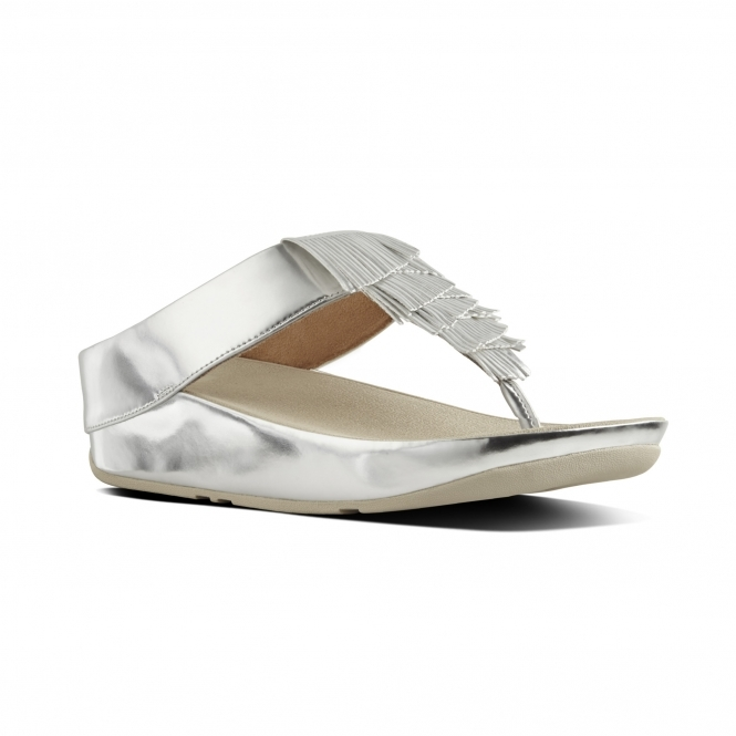 79d7521a4 FitFlop™ CHA CHA™ Ladies Faux Leather Fringe Sandals Silver | Shuperb