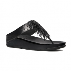 CHA CHA™ Ladies Leather Toe Post Tassel Sandals Black