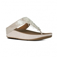 CHA CHA™ Ladies Suede Toe Post Tassel Sandals Silver