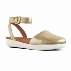 FitFlop™ COVA™ Ladies Leather Ankle Strap Closed-Toe Sandals Metallic Gold