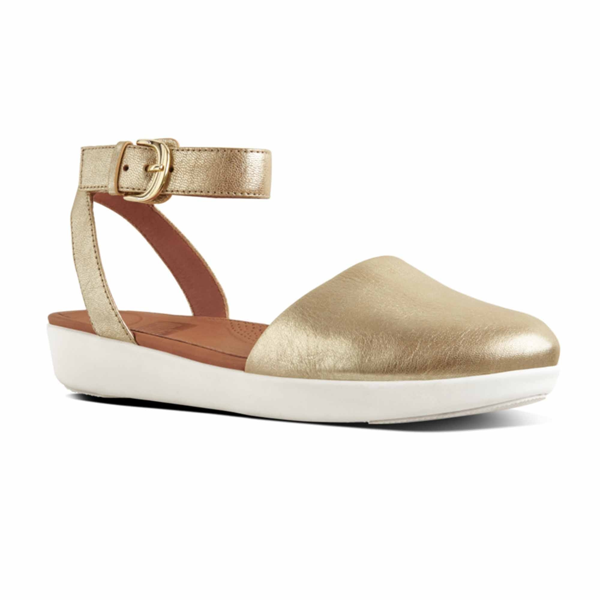 673fe230a FitFlop™ COVA™ Ladies Leather Closed-Toe Sandals Metallic Gold | Shuperb